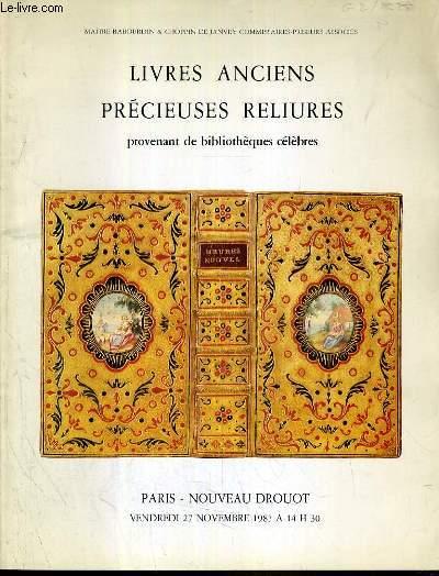 CATALOGUE DE VENTE AUX ENCHERES - NOUVEAU DROUOT - LIVRES ANCIENS - PRECIEUSES RELIURES PROVENANT DE BIBLIOTHEQUES CELEBRES - SALLE 2 - 27 NOVEMBRE 1987.