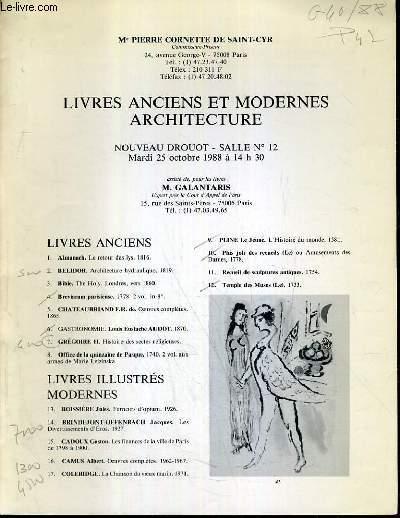 CATALOGUE DE VENTE AUX ENCHERES - NOUVEAU DROUOT - LIVRES ANCIENS ET MODERNES - ARCHITECTURE - SALLE 12 - 25 OCTOBRE 1988.