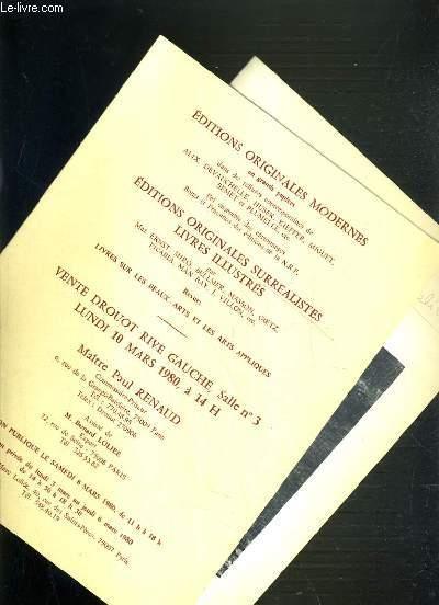 LOT DE 2 CATALOGUES - DROUOT - EDITIONS ORIGINALES SURREALISTES - LIVRES ILLUSTRES - 10 MARS 1980 - 30 MAI 1984.