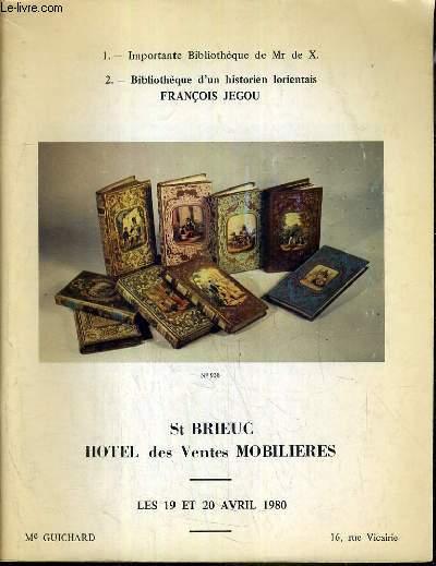 CATALOGUE DE VENTE AUX ENCHERES - ST BRIEUC - BIBLIOTHEQUE D'UN HISTORIEN LORIENTAIS-FRANCOIS JEGOU - 19/20 AVRIL 1980.