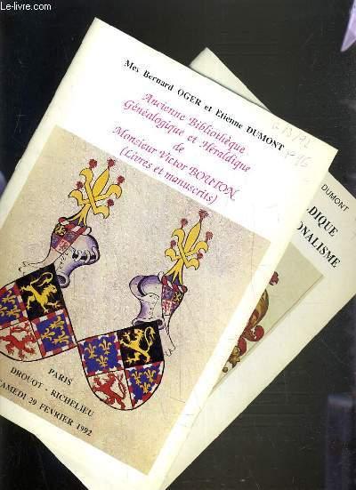 LOT DE 2 CATALOGUES DE VENTE AUX ENCHERES - DROUOT RICHELIEU - ANCIENNE BIBLIOTHEQUE GENEALOGIQUE ET HERALDIQUE DE Mr VICTOR BOUTON (LIVRES ET MANUSCRITS) - REGIONALISME - 29 FEVRIER - 1er JUIN 1992.