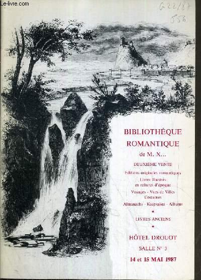 CATALOGUE DE VENTE AUX ENCHERES - HOTEL DROUOT - BIBLIOTHEQUE ROMANTIQUE DE M.X.. - SALLE 3 - 14/15 MAI 1987.