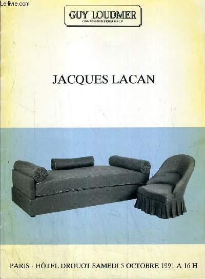 CATALOGUE DE VENTE AUX ENCHERES - HOTEL DROUOT - JACQUES LACAN - SALLE 8 - 5 OCTOBRE 1991.