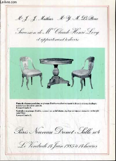 CATALOGUE DE VENTE AUX ENCHERES - NOUVEAU DROUOT - SUCCESSION DE Me CLAUDE HENRI LEVY ET APPARTENANT A DIVERS - SALLE 4 - 14 JUIN 1985.