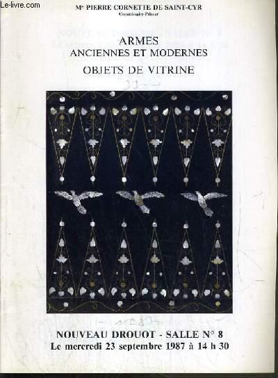 CATALOGUE DE VENTE AUX ENCHERES - NOUVEAU DROUOT - ARMES ANCIENNES ET MODERNES - OBJETS DE VITRINE - SALLE 8 - 23 SEPTEMBRE 1987.