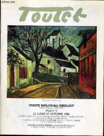 CATALOGUE DE VENTE AUX ENCHERES - NOUVEAU DROUOT - TOUTET - SALLE 14 - 27 OCTOBRE 1986.