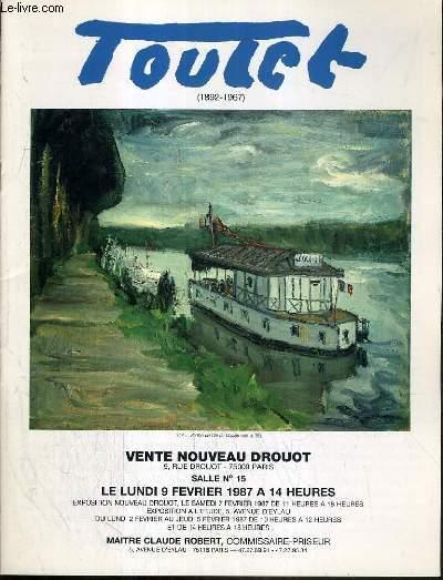 CATALOGUE DE VENTE AUX ENCHERES - NOUVEAU DROUOT - TOUTET (1892-1967) - SALLE 15 - 9 FEVRIER 1987.