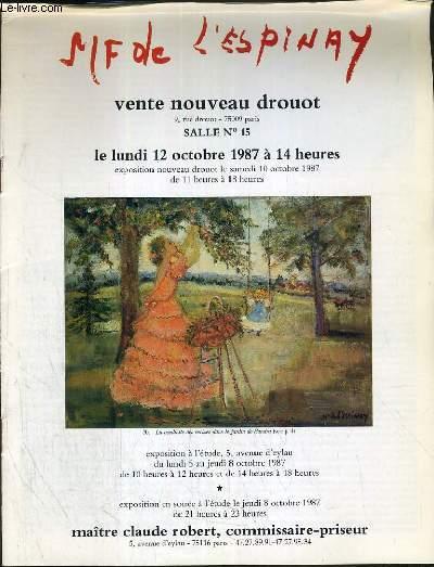 CATALOGUE DE VENTE AUX ENCHERES - NOUVEAU DROUOT - MARIE-FRANCOISE DE L'ESPINAY - SALLE 15 - 12 OCTOBRE 1987.