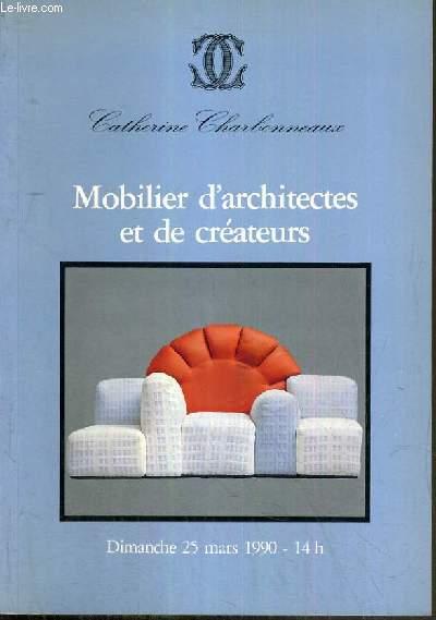 CATALOGUE DE VENTE AUX ENCHERES - DROUOT RICHELIEU - MOBILIER D'ARCHITECTES ET DE CREATEURS - ARTS DECORATIFS DU XXe SIECLE - VERRERIES - 25 MARS 1990.