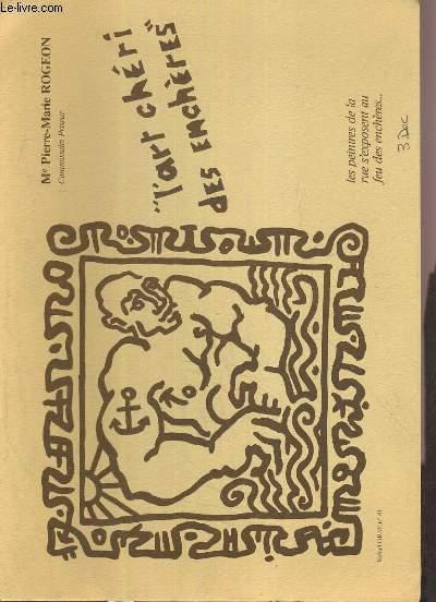 CATALOGUE DE VENTE AUX ENCHERES - NOUVEAU DROUOT - L'ART CHERI DES ENCHERES - SALLE 16 - 3 DECEMBRE 1986.