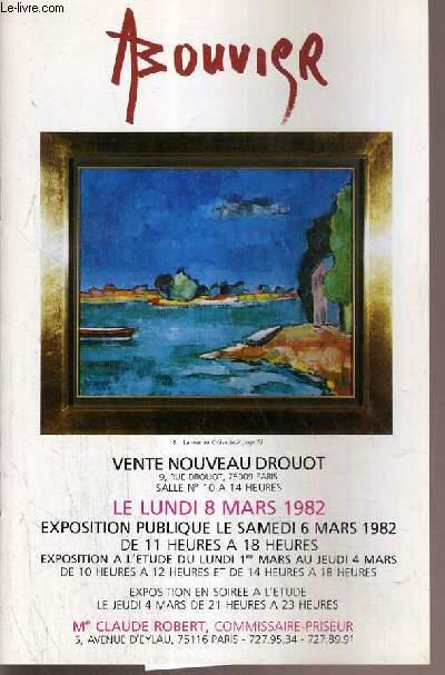 CATALOGUE DE VENTE AUX ENCHERES - NOUVEAU DROUOT - A. BOUVIER - SALLE 10 - 8 MARS 1982.