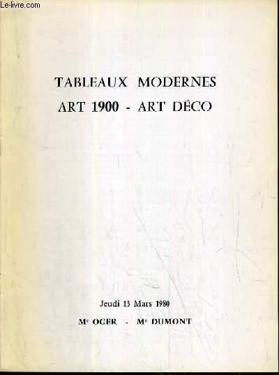 CATALOGUE DE VENTE AUX ENCHERES - DROUOT RIVE GAUCHE - TABLEAUX MODERNES - ART 1900 - ART DECO - SALLE 12 - 13  MARS 1980.