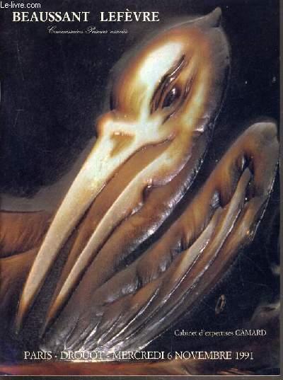 CATALOGUE DE VENTE AUX ENCHERES - DROUOT RICHELIEU - ART NOUVEAU - ART DECO - CERAMIQUES - VERRERIES - MOBILIER - SALLE 5 - 6 NOVEMBRE 1991.