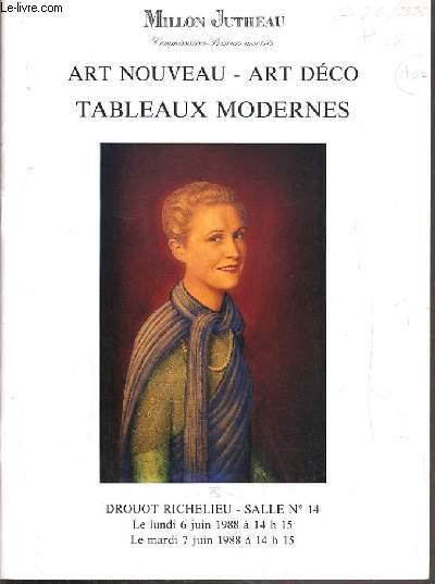 CATALOGUE DE VENTE AUX ENCHERES - DROUOT RICHELIEU - ART NOUVEAU - ART DECO - TABLEAUX MODERNES - SALLE 14 - 6/7 JUIN 1988.