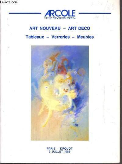 CATALOGUE DE VENTE AUX ENCHERES - DROUOT - ART NOUVEAU -  ART DECO - SALLE 15 - 5 JUILLET 1988.