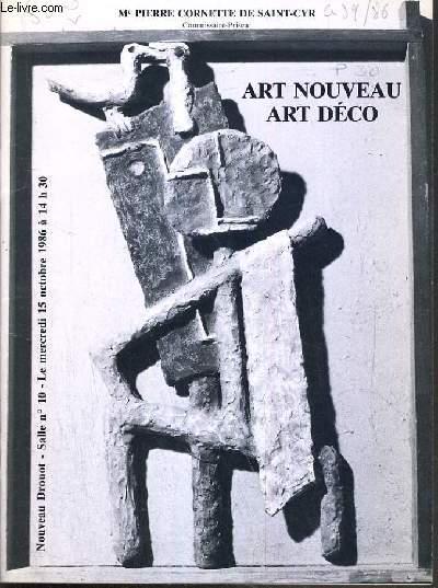 CATALOGUE DE VENTE AUX ENCHERES - NOUVEAU DROUOT - ART NOUVEAU -  ART DECO - SALLE 10 - 15 OCTOBRE 1986.
