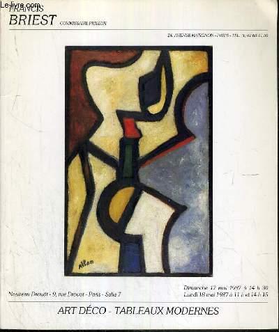 CATALOGUE DE VENTE AUX ENCHERES - NOUVEAU DROUOT -  ART DECO - TABLEAUX MODERNES - SALLE 7 - 17-18 MAI 1987.