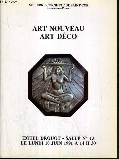 CATALOGUE DE VENTE AUX ENCHERES - HOTEL DROUOT - ART NOUVEAU -  ART DECO - SALLE 13 - 10 JUIN 1991.
