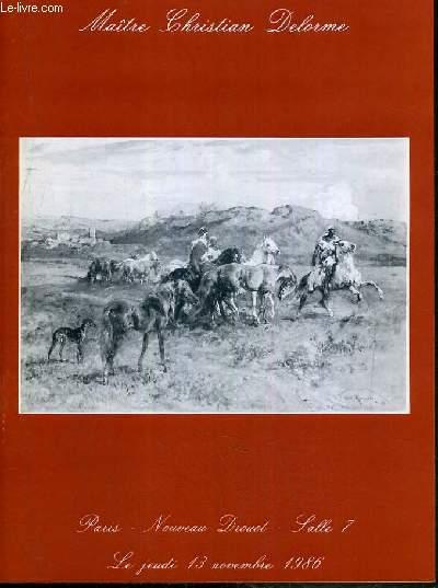 CATALOGUE DE VENTE AUX ENCHERES - NOUVEAU DROUOT - DESSINS - TABLEAUX MODERNES - BRONZES - ART NOUVEAU - ART DECO - SALLE 7 - 13 NOVEMBRE 1986.