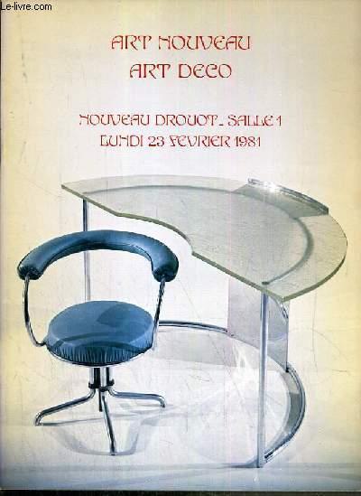 CATALOGUE DE VENTE AUX ENCHERES - NOUVEAU DROUOT - ART NOUVEAU - ART DECO - SALLE 1 - 23 FEVRIER 1981.