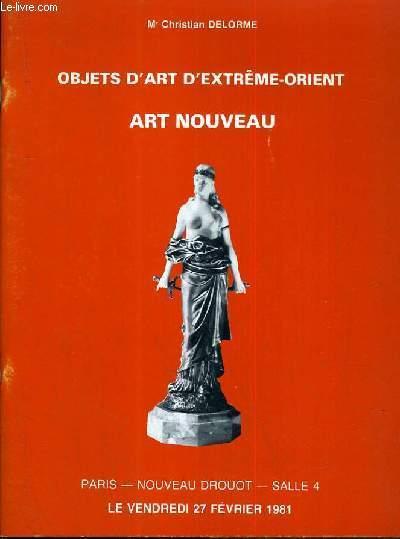 CATALOGUE DE VENTE AUX ENCHERES - NOUVEAU DROUOT - OBJETS D'ART D'EXTREME-ORIENT - ART NOUVEAU - SALLE 4 - 27 FEVRIER 1981.