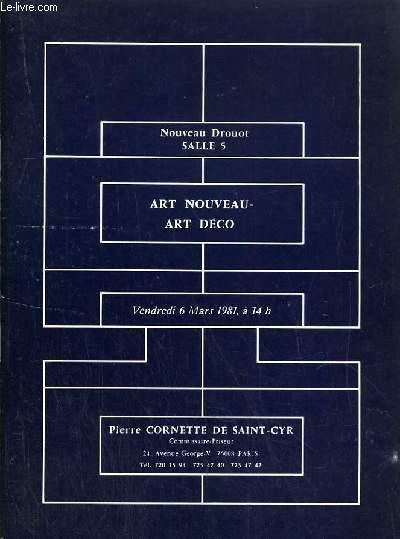 CATALOGUE DE VENTE AUX ENCHERES - NOUVEAU DROUOT - ART NOUVEAU - ART DECO - SALLE 5 - 6 MARS 1981.
