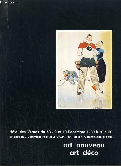 CATALOGUE DE VENTE AUX ENCHERES - ART NOUVEAU - ART DECO - 9-10 DECEMBRE 1980.