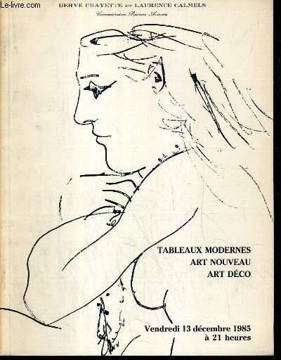 CATALOGUE DE VENTE AUX ENCHERES - NOUVEAU DROUOT - TABLEAUX MODERNES - ART NOUVEAU - ENSEMBLE DE VASES ET MEUBLES D'EMILE GALLE - ART DECO - MOBILIER ET LUMINAIRE DE PIERRE CHAREAU - SALLE 7 - 13 DECEMBRE 1985.