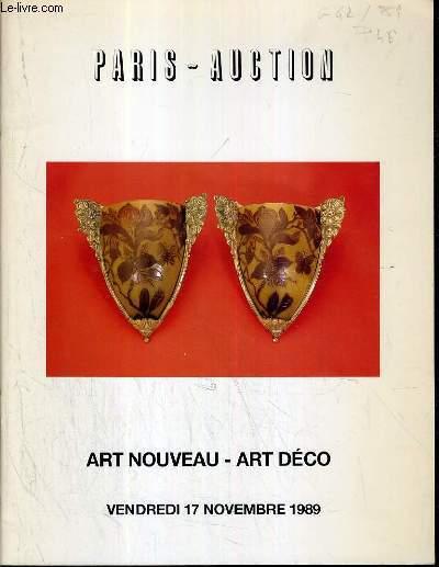 CATALOGUE DE VENTE AUX ENCHERES - DROUOT - ART NOUVEAU - ART DECO - CERAMIQUES - VERRERIE - BRONZES - MOBILIER - SALLE 8 - 17 NOVEMBRE 1989.
