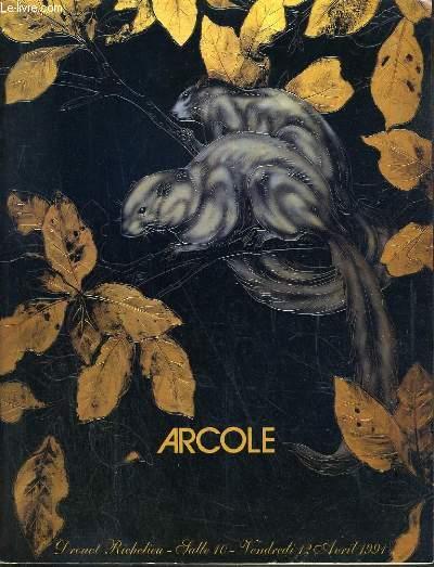CATALOGUE DE VENTE AUX ENCHERES - DROUOT RICHELIEU - ART NOUVEAU - ART DECO - DOCUMENTATION - GRAVURES - DESSINS - AQUARELLES - TABLEAUX - VERRERIES - OBJETS D'ART - SALLE 10 - 12 AVRIL 1991.