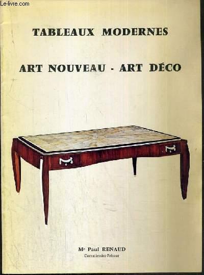 CATALOGUE DE VENTE AUX ENCHERES - NOUVEAU DROUOT - TABLEAUX MODERNES - ART NOUVEAU - ART DECO - SALLE 10 - 21 NOVEMBRE 1980.
