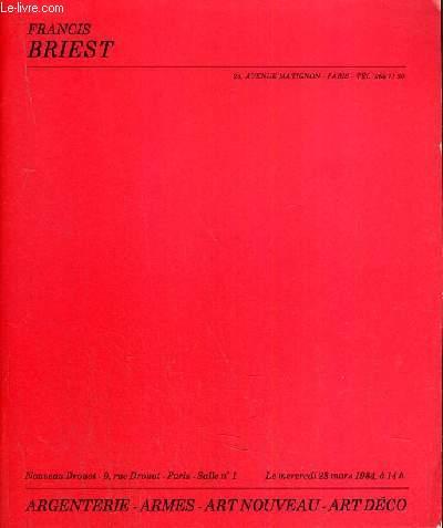CATALOGUE DE VENTE AUX ENCHERES - NOUVEAU DROUOT - ARGENTERIE - ARMES  - ART NOUVEAU - ART DECO - SALLE 1 - 28 MARS 1984.