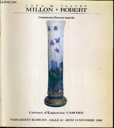 CATALOGUE DE VENTE AUX ENCHERES - DROUOT RICHELIEU - ART NOUVEAU - ART DECO - TABLEAUX - CERAMIQUES - VERRERIES - SCULPTURES - OBJETS D'ART - LUMINAIRES - TAPIS - MOBILIER - SALLE 10 - 15 NOVEMBRE 1990.