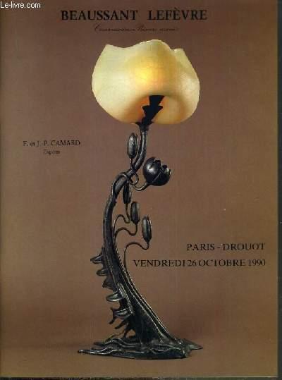 CATALOGUE DE VENTE AUX ENCHERES - DROUOT RICHELIEU - ART NOUVEAU - CERAMIQUES - VERRERIES - MOBILIER - SALLE 15 - 26 OCTOBRE 1990.