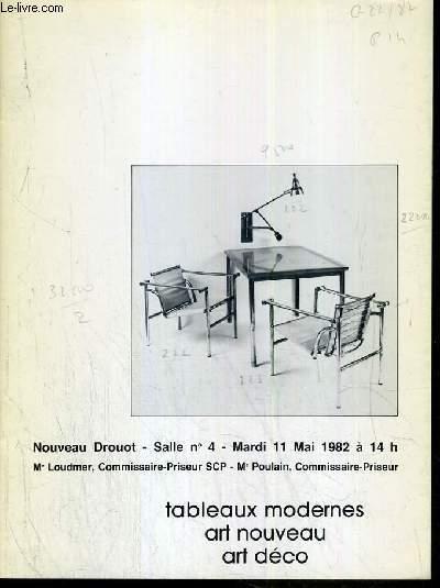 CATALOGUE DE VENTE AUX ENCHERES - NOUVEAU DROUOT - TABLEAUX MODERNES - ART NOUVEAU - ART DECO - SALLE 4 - 11 MAI 1982.