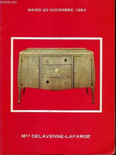 CATALOGUE DE VENTE AUX ENCHERES - DROUOT - TABLEAUX MODERNES - ART DECO - ART NOUVEAU - SALLE 10 - 20 NOVEMBRE 1984.
