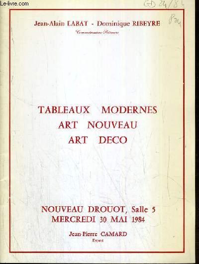 CATALOGUE DE VENTE AUX ENCHERES - NOUVEAU DROUOT - TABLEAUX MODERNES - ART NOUVEAU - ART DECO - SALLE 5 - 30 MAI 1984.