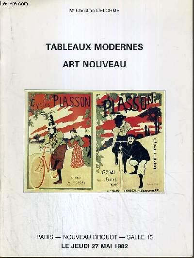 CATALOGUE DE VENTE AUX ENCHERES - NOUVEAU DROUOT - TABLEAUX MODERNES - ART NOUVEAU - SALLE 15 - 27 MAI 1982.