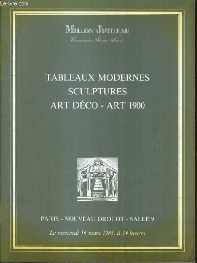 CATALOGUE DE VENTE AUX ENCHERES - NOUVEAU DROUOT - TABLEAUX MODERNES - SCULPTURES - ART DECO - ART 1900 - SALLE 9 - 16 MARS 1983.