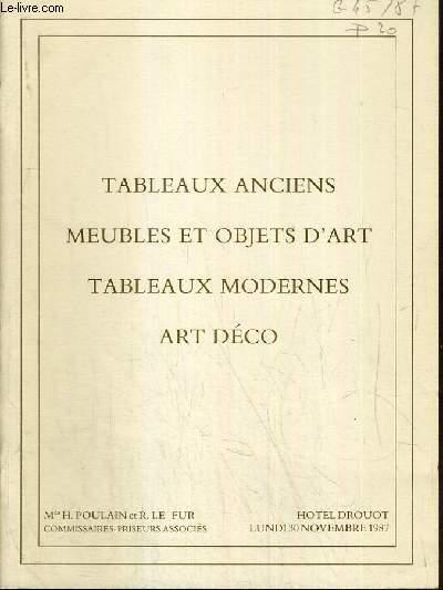 CATALOGUE DE VENTE AUX ENCHERES - HOTEL DROUOT - TABLEAUX ANCIENS - MEUBLES ET OBJETS D'ART - TABLEAUX MODERNES - ART DECO - SALLE 6 - 30 NOVEMBRE 1987.