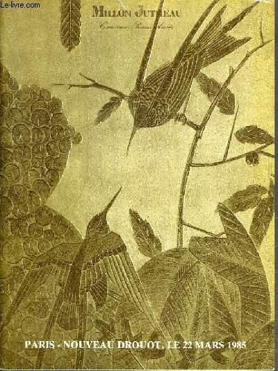 CATALOGUE DE VENTE AUX ENCHERES - NOUVEAU DROUOT - ART NOUVEAU - ART DECO - SALLE 3 - 22 MARS 1985.