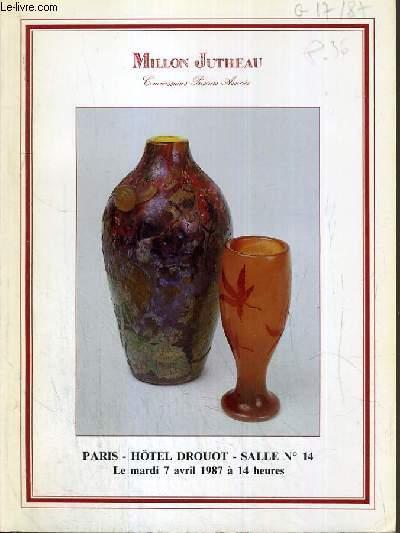 CATALOGUE DE VENTE AUX ENCHERES -  HOTEL DROUOT - ART NOUVEAU - ART DECO - SALLE 14 - 7 AVRIL 1987.