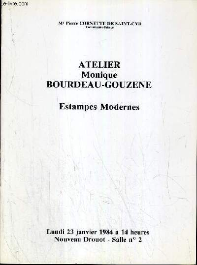 CATALOGUE DE VENTE AUX ENCHERES - NOUVEAU DROUOT - ATELIER MONIQUE BOURDEAU-GOUZENE - ESTAMPES MODERNES - SALLE 2 - 23 JANVIER 1984.
