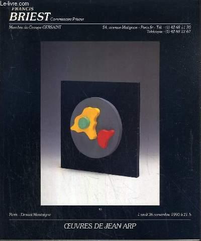 CATALOGUE DE VENTE AUX ENCHERES - DROUOT MONTAIGNE - OEUVRES DE JEAN ARP - 26 NOVEMBRE 1990.