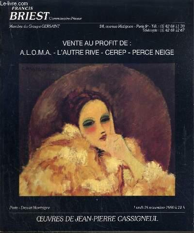 CATALOGUE DE VENTE AUX ENCHERES - DROUOT MONTAIGNE - OEUVRES DE JEAN-PIERRE CASSIGNEUL - 26 NOVEMBRE 1990.