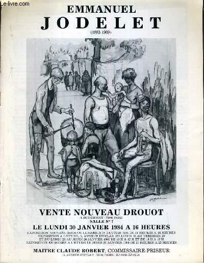 CATALOGUE DE VENTE AUX ENCHERES - NOUVEAU DROUOT - EMMANUEL JODELET (1883-1969) - SALLE 7 - 30 JANVIER 1984.