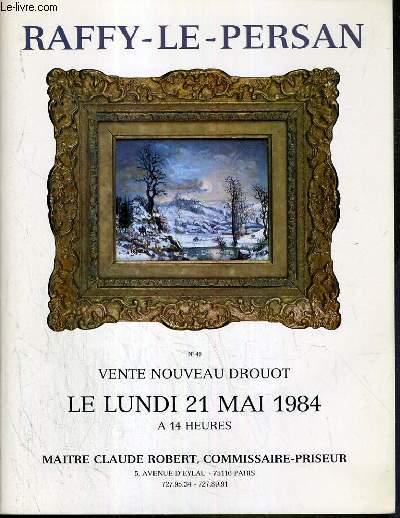 CATALOGUE DE VENTE AUX ENCHERES - NOUVEAU DROUOT - RAFFY-LE-PERSAN - SALLE 5 - 21 MAI 1984.