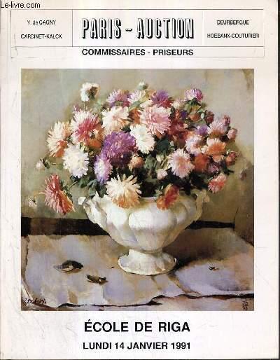 CATALOGUE DE VENTE AUX ENCHERES - HOTEL DROUOT - ECOLE DE RIGA - TABLEAUX MODERNES ET CONTEMPORAINS - SALLE 1 - 14 JANVIER 1991.