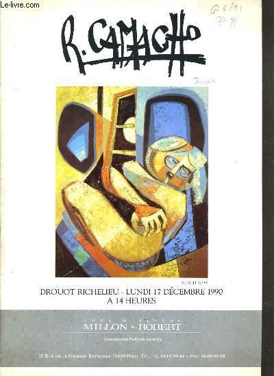 CATALOGUE DE VENTE AUX ENCHERES - DROUOT RICHELIEU - RUBEN CAMACHO - SALLE 15 - 17 DECEMBRE 1990.