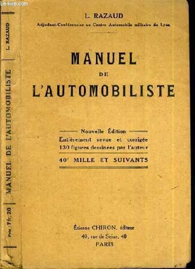 MANUEL DE L'AUTOMOBILISTE